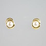 Vintage 6mm Cultured Pearl Diamond & 18kt Gold Stud Earrings