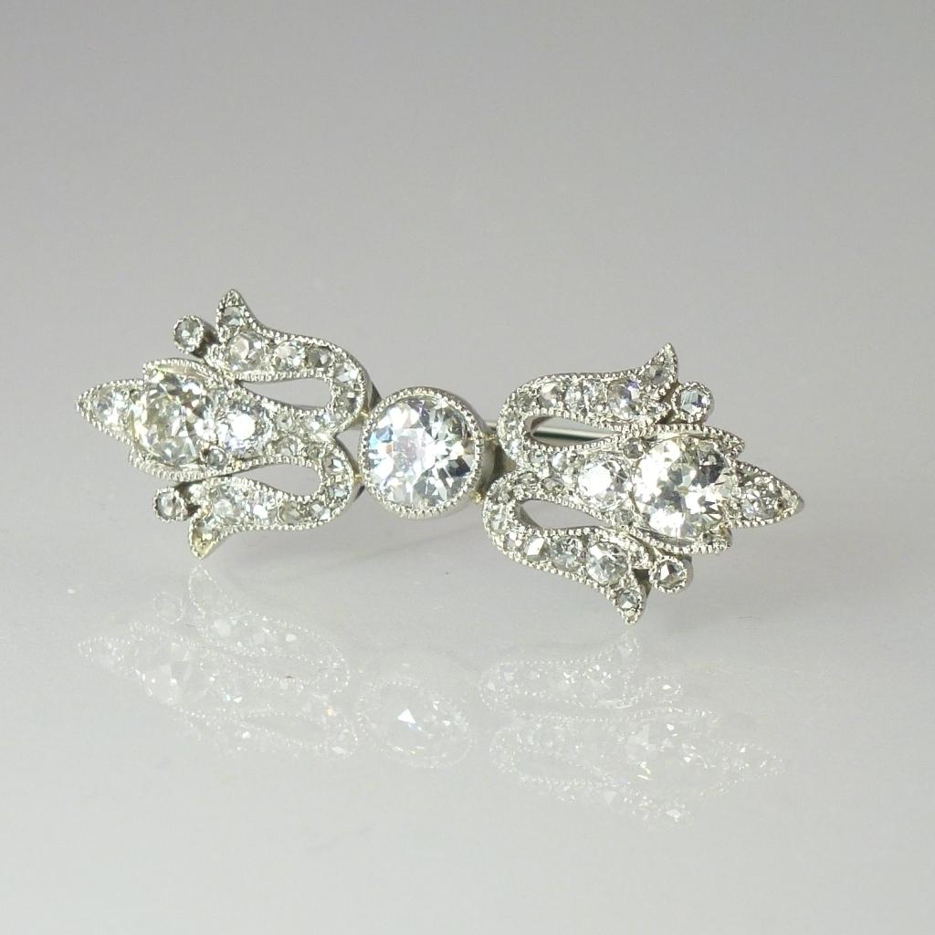 Fine Edwardian 1.59cttw Diamond & 14kt Gold Pin