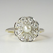 Classic Edwardian Pearl Diamond & Platinum-Topped 14kt Gold Dinner Ring