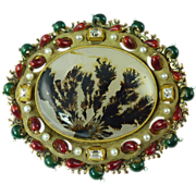 Remarkable Victorian Dendritic Agate Diamond Pearl & Enamelled 10kt Gold Brooch