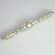 Magnificent Diamond-Encrusted Edwardian/Art Deco Diamond & Platinum Bar Pin