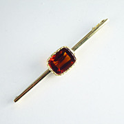 Vintage Madeira Citrine & 14kt Gold Bar Pin