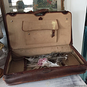 Antique French Leather hand-made Suitcase  for Decoration