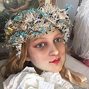 19th. Century Very Rare German Wedding Crown Head piece Made from Goose Feathers Head dress