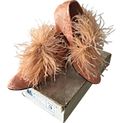 1920's French Flapper Peach Boudoir Shoes Feathers in original shoe-box