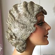 1920 Silver Metal Bullion Flapper Finger Wave Wig Cloche Mannequin Charleston Folies Lido