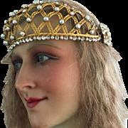 1920's French Gilded Brass Tiara Crown Santos Bust flapper Art Deco Headdress