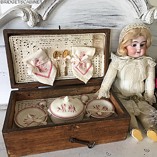 Antique 1900's French Doll Child Dinnerware Set Toy Dinette