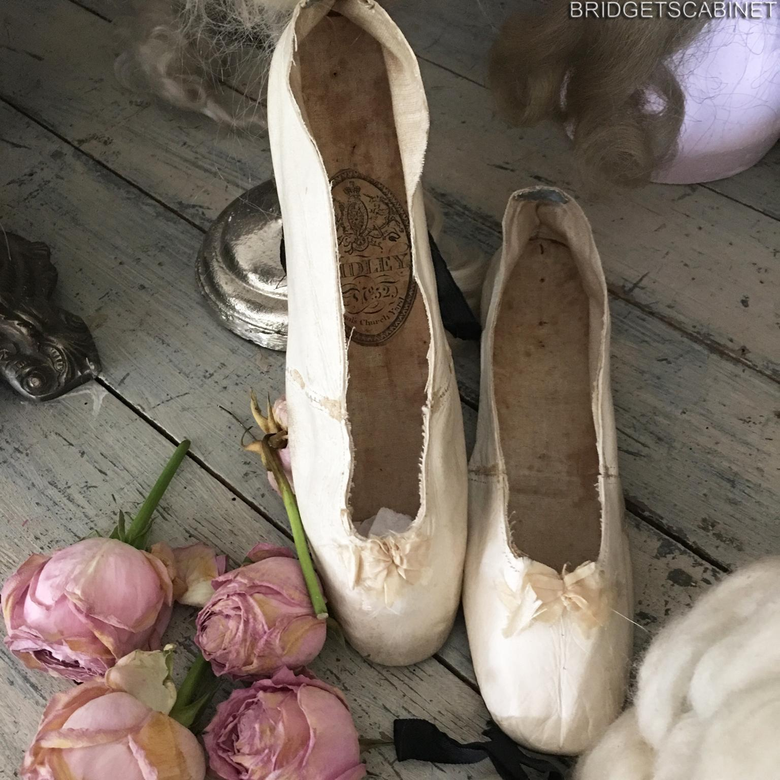 Very Rare 1840's Women Soft Leather White Shoes