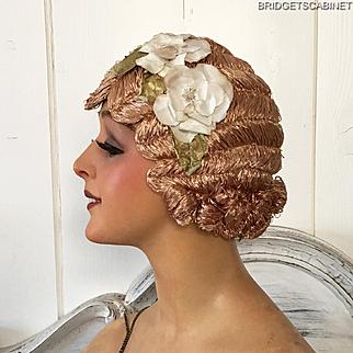 1920'S Art Deco Paris Original Flapper Evening Wig Cloche Hair Mocha Flowers