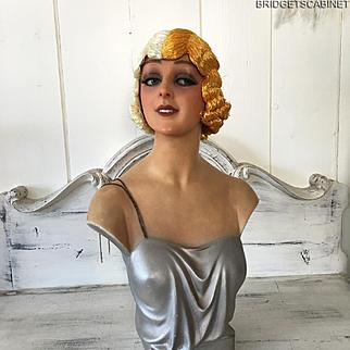 1920'S Art Deco Paris Original Flapper Evening Wig Cloche Hair Boudoir Two-Color