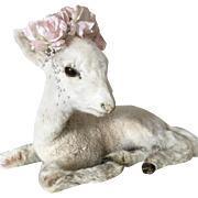 1940's Taxidermy WHITE Lamb in Laying Position