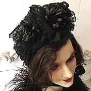 19th. Century Rare French Ribbon Lace Hat Bonnet