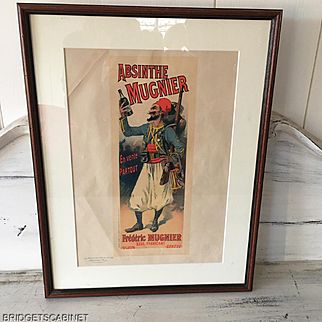Very rare 1898 lithography reproducing the famous Absinthe Mugnier Poster