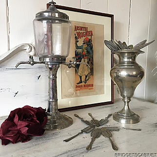 19th Century French Absinthe Fountain Set with Pot Spoons and original Framed Poster behind Glass