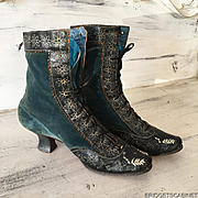 Very Rare 1850's French Velvet Boots Shoes