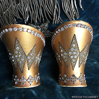 Pair of 1920'S Flapper Shoe Heels Art Deco with Rhinestones