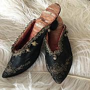 Stunning 18th C. Black Silk Ladies Shoes Marie Antoinette Museum Pieces