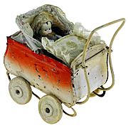 Antique late 19th C. German Pram Miniature Pressed Tin Toy