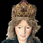 Stunning 1860's Large Life-Size Gilded Religious Santos Crown Diadem