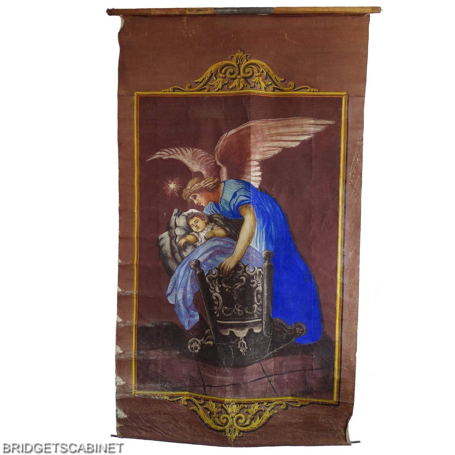Late 19th. Century Antique Painting Background Angel Theater Religious Banner