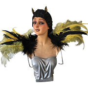 Gorgeous 1920/30's Feathered Stege Theater Shoulder Showpiece Costume Burlesque