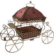 Rare French Vintage Doll Carriage  Boudoir Casket Box