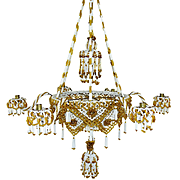 1880 German Candle Luster Erzgebirge Beads Glass Lamp Chandelier