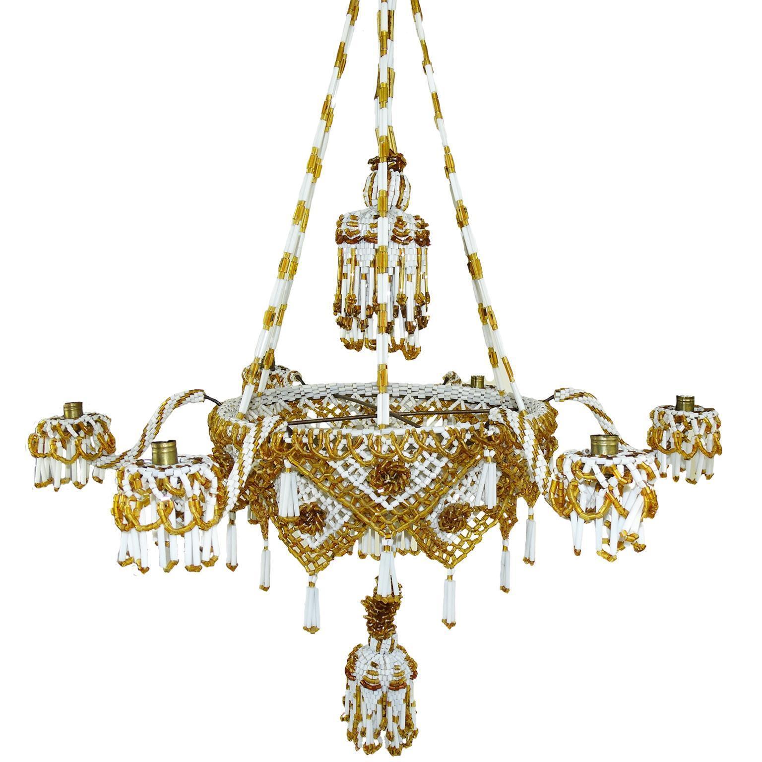 1880 German Candle Luster Erzgebirge Beads Glass Lamp Chandelier