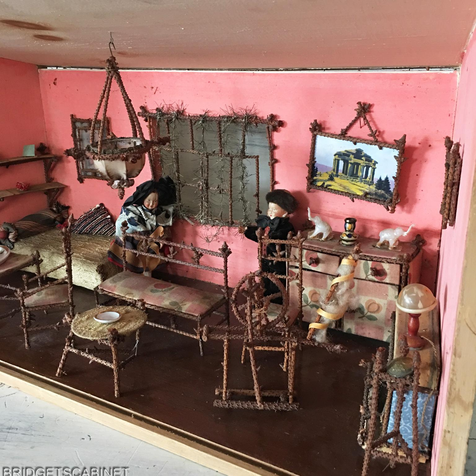 19th. C French Doll House Room with Miniature Pine Twig Furniture Mignonette