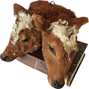 1930's Very Rare Two-Headed Conjoined Mounted Calf