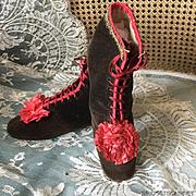 Antique French 1880's Boots Velvet Silk Rosettes Shoes Doll Mannequin Costume