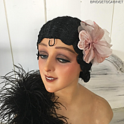 1920'S Art Deco Paris Original Flapper Evening Wig Cloche Hair Boudoir Black