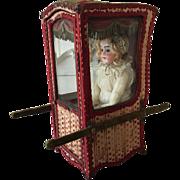 19th. Century French Sedan Chair Grande Doll Silk