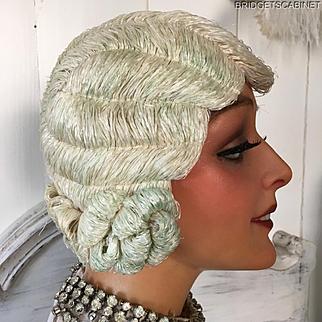 1920'S Art Deco Paris Original Flapper Evening Wig Cloche Hair Boudoir White
