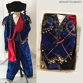 1920's Child Matador Velvet Costume Gold Metal Thread Embroidery Mannequin