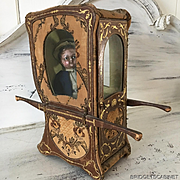 19th. Century French Sedan Chair Doll Boudoir Vitrine Jumeau