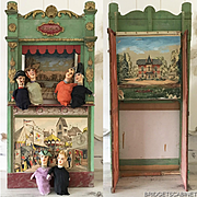 19th. Century Large Guignol Puppet Theater with 6 original puppets Doll Toys