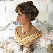 1900's French Wax Girl Mannequin Head Bust Doll Flapper Display