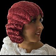 1920's Art Deco Flapper Hat Hair Cloche Paris Evening Wig Boudoir Copper Red colored