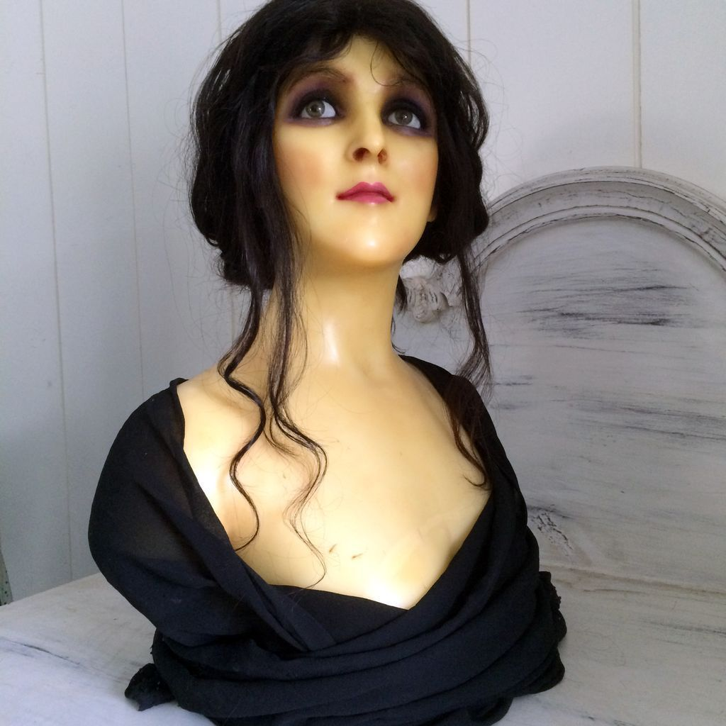 1900 Antique Wax French Mannequin Head Doll Display Bust