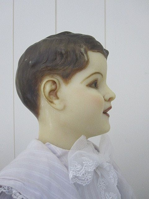 1900 French Wax Child Mannequin Display Doll Costume Dress