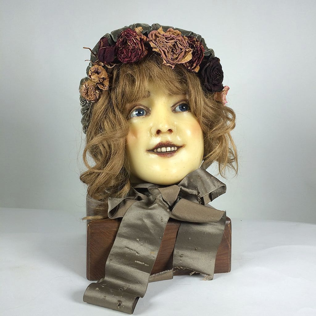 1890 1900 French Mannequin Head Doll Display Bust Cire