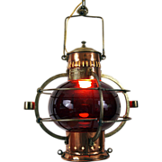 19th Century French Red Glass Nautical Lantern