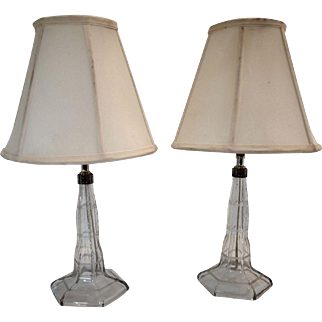 1920's Etched and cut glass column lamps/pr