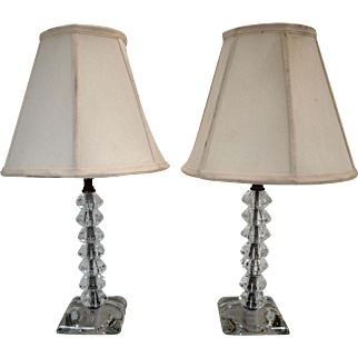 Pair of Stacked glass column lamps