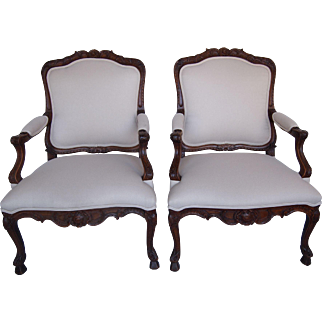 Pair of Large French Walnut Chairs