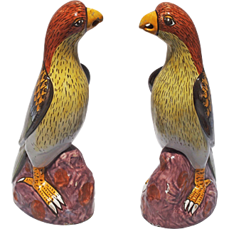 Pair of Signed 19th C Polychrome Painted Faience Bird / Parrot Statue