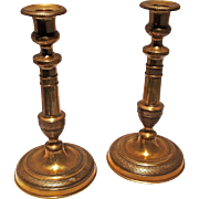 Fine pair of 19th Century French Brass Candlesticks