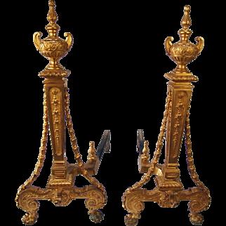 Pair of 19th Century French gilt bronze andirons